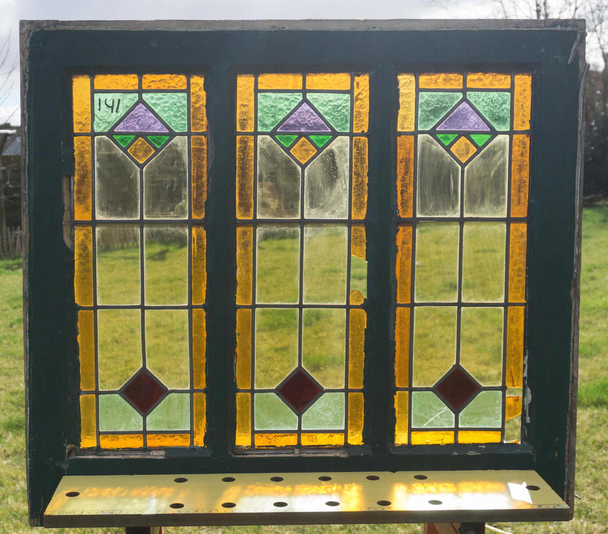 Nieuw Glas in lood raam No. 141   Brocantiek de Linde BV-91