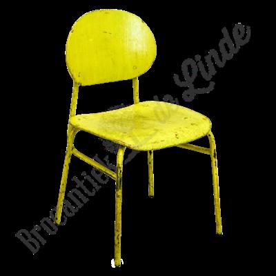 Vintage kinderschoolstoeltje geel