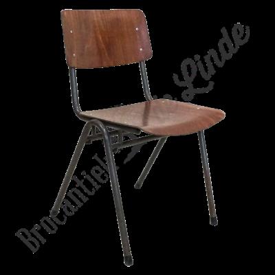 Vintage schoolstoel donkerbruin