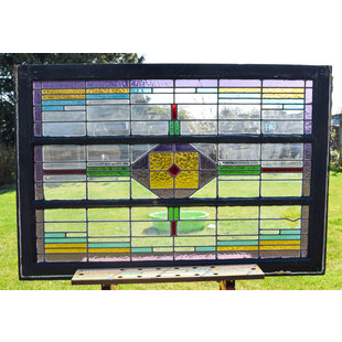 82,5 x 121 cm - Glas in lood raam No. 160