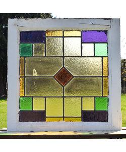 56 x 57 cm - Glas in lood raam No. 162