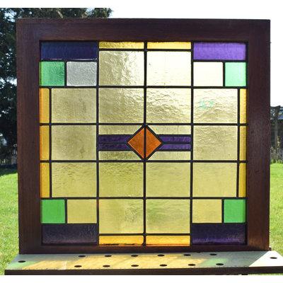 68 x 67,5 cm - Glas in lood raam No. 167