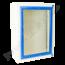 Wandkastje wit met blauwe rand