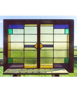 67,5 x 88 cm - Glas in lood raam No. 184