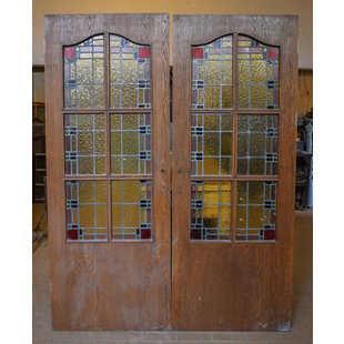 201,5 x 78 cm - Set glas in lood deuren No. 115/116
