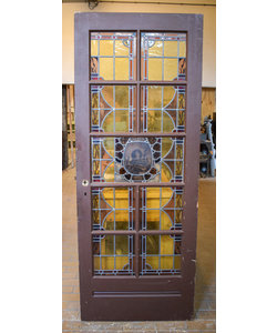 212 x 82,5 cm - Glas in lood deur No. 128