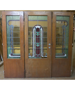 200 x 65 cm - Set glas in lood deuren No. 135/136/137
