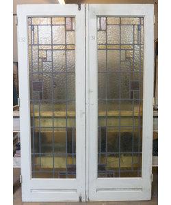 201,5 x 67 cm - Set glas in lood deuren No. 131/132