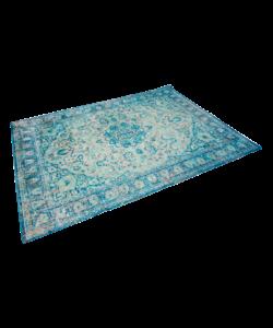 Vintage vloerkleed blauw/wit patroon