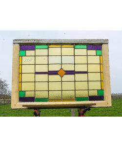 75,5 x 107 cm - Glas in lood raam No. 208