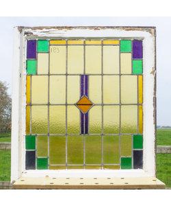 84 x 75,5 cm - Glas in lood raam No. 183