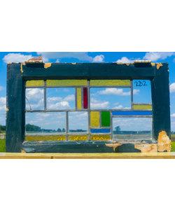 37,5 x 64 cm - Glas in lood raam No. 282