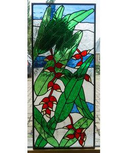 106,5 x 46,5 cm - Glas in lood raam Indonesië No. 5