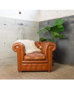 Vintage Chesterfield fauteuil cognac