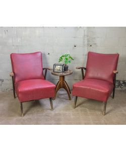 Vintage fauteuils - Rood 'Leder'