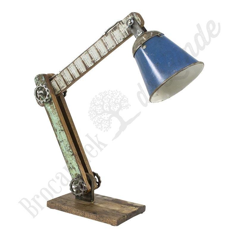 "Industriële bureaulamp ""Wood & Blue Iron"""