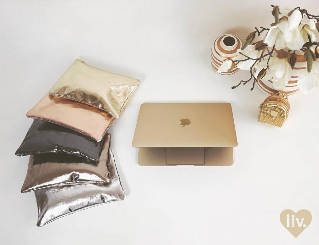 livstil Clutch/Kosmetik Weissgold-Metallic
