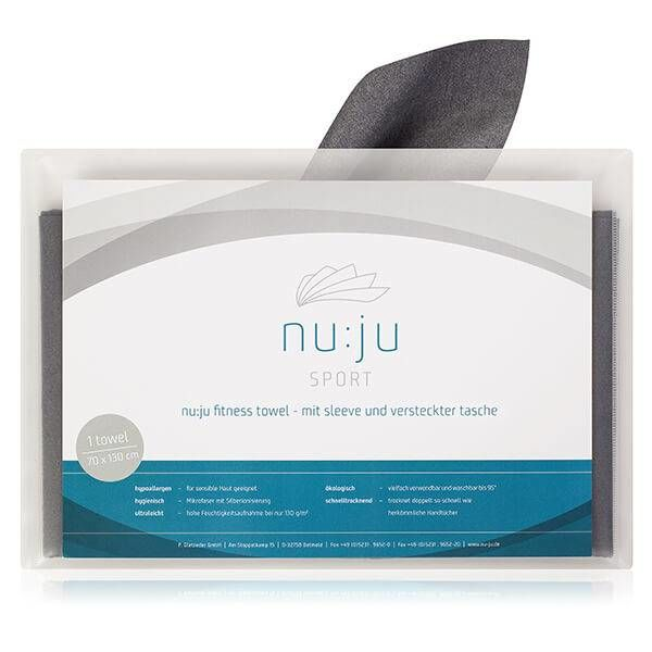 nu:ju® SPORT nu:ju Microfiber fitness towel made of Evolon®  with 3 practical functions, silver-ionised | 1 towel ( ca. 70 x 130 cm) in Dark Grey