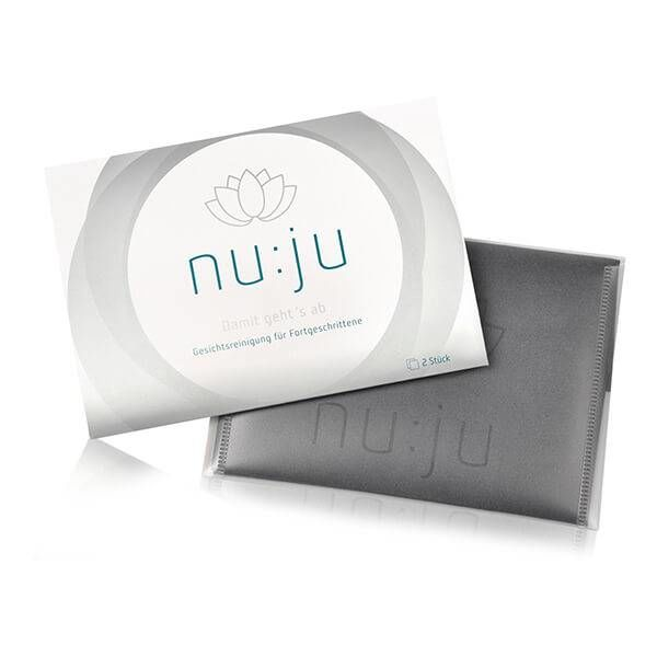 nu:ju® BEAUTY nu:ju Microfiber facial cleansing cloths 2in1 made of Evolon®, silver-ionized | Pack of 2 incl. travel case