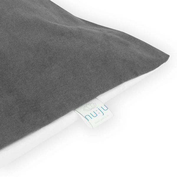 nu:ju® HOME Wende-Kopfkissenbezug SOFT TOUCH aus Evolon®, silberionisiert,  Anti-Milben | 1 Stück in 80 x 40 cm - Grau/Weiß