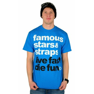 Famous Stars and Straps Simple T-Shirt Turquoise/White/Black