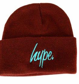 Hype Script Beanie Burgundy/Cyan