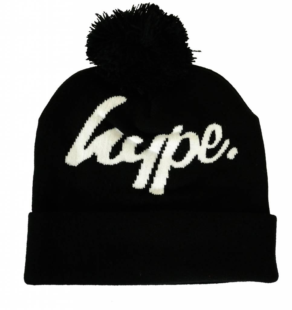 Hype Logo Pom Beanie Black/White