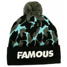 Famous Stars and Straps Bubble Camo Pom Beanie Black / Lux Blue