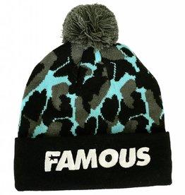 Famous Stars and Straps Bubble Camo Pom Beanie Black / Lux Blue