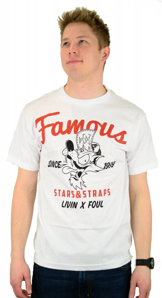 Famous Stars and Straps Living Foul T-Shirt White/Red/Black