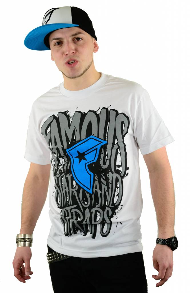 Famous Stars and Straps Huge T-Shirt White/Cyan