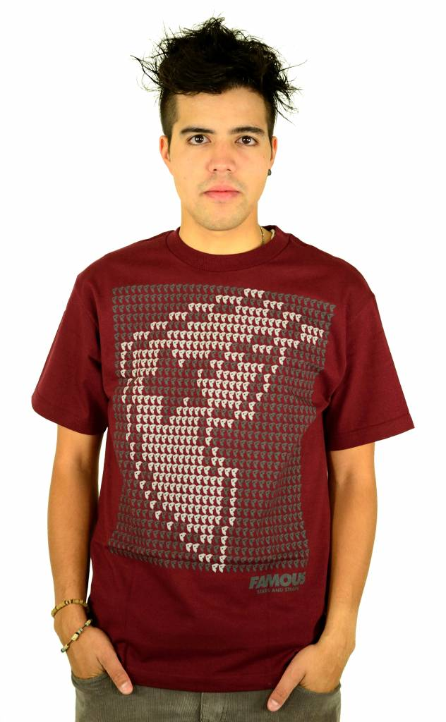 Famous Stars and Straps Data Boh T-Shirt Burgundy/Grey/White