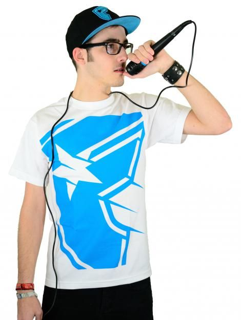 Famous Stars and Straps Shadow Boh T-Shirt White/Cyan