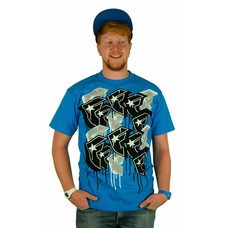 Famous Stars and Straps Multiply T-Shirt Turquoise/Grey/Black