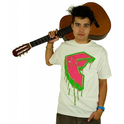 Famous Stars and Straps Drips Boh T-Shirt White/Pink/Lime