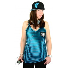 Famous Stars and Straps Pink Lady Striped Lucky Tank Black/Blue