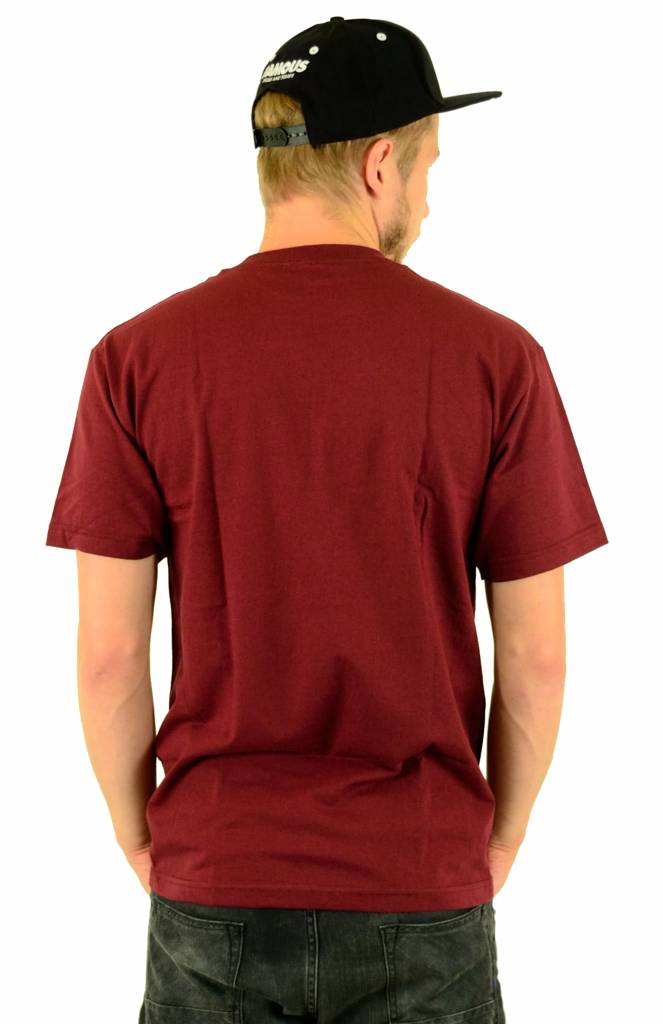 Famous Stars and Straps Wild Torn T-Shirt Burgundy