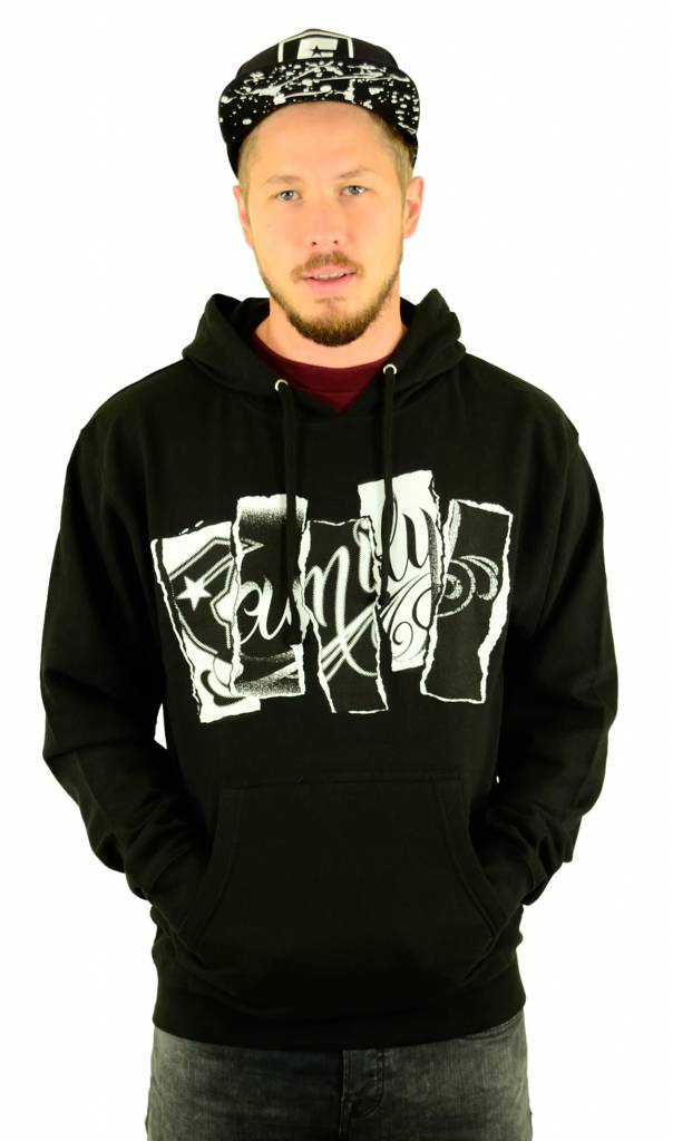 Famous Stars and Straps Family Torn Hoodie Black
