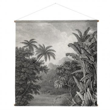 HKliving HK living Jungle muurdecoratie, schoolplaat canvas Jungle XL zwart / wit