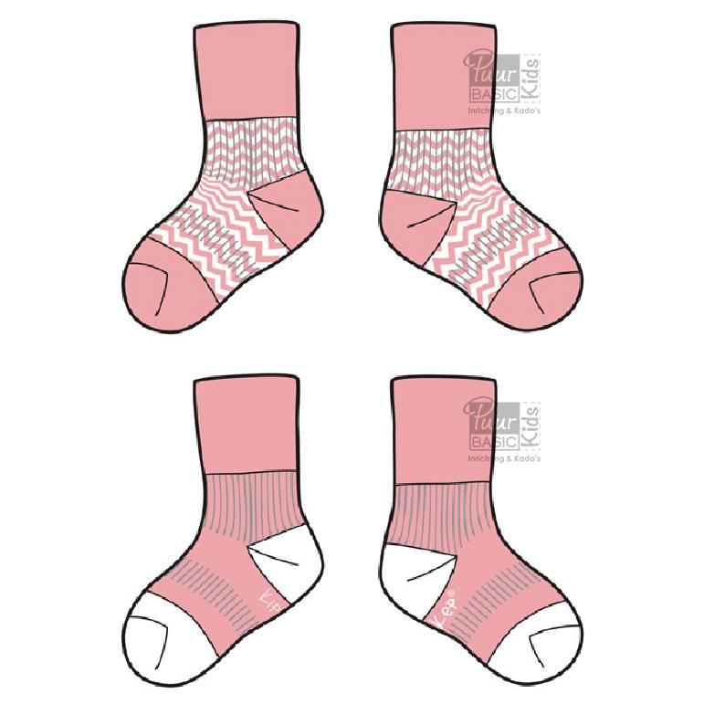 Blijf-sokken Roze  0-6 maanden of 6-12 maanden
