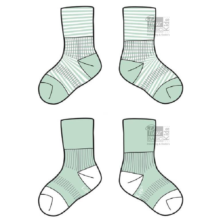 Blijf-sokken Mint  0-6 maanden of 6-12 maanden