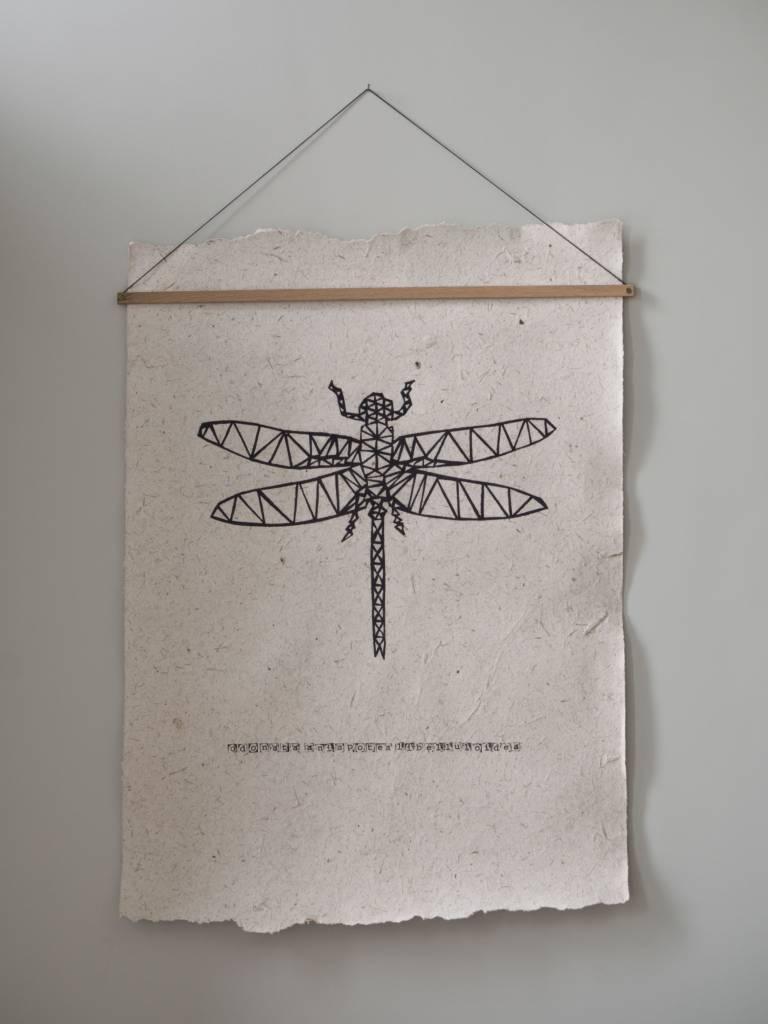 Nadesign Poster olifantenpoep papier - poster Libelle Nadesign
