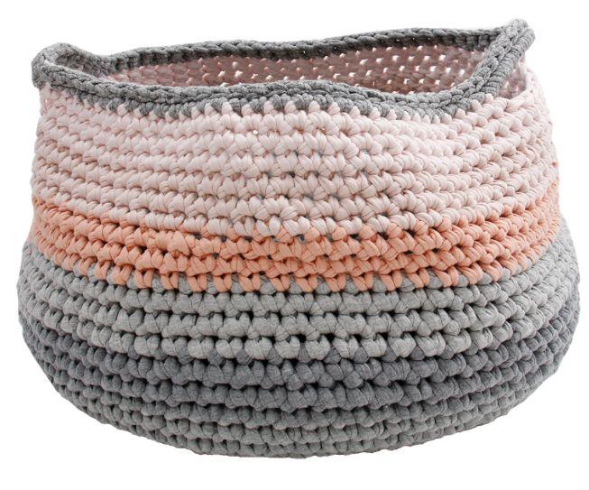 Naco Opbergmand Crochet gehaakt roze en grijstinten Medium