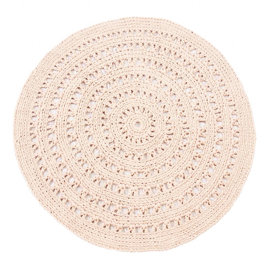 Naco Gehaakt vloerkleed Zalm pastel roze