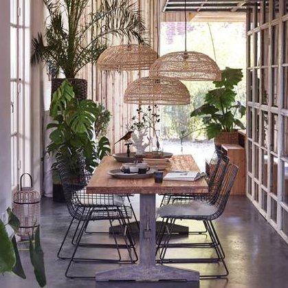 Hk Living HK Living hanglamp handgevlochten naturel riet 60x60x20cm