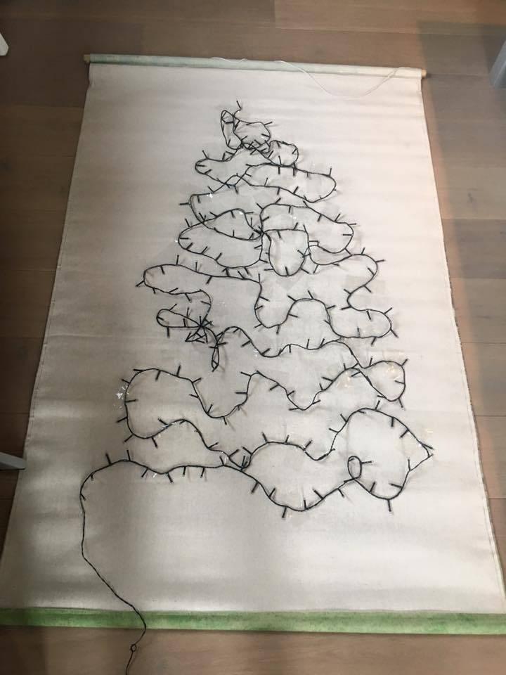 HKliving HK living Kerst muurdecoratie, schoolplaat canvas Kerstboom maat L