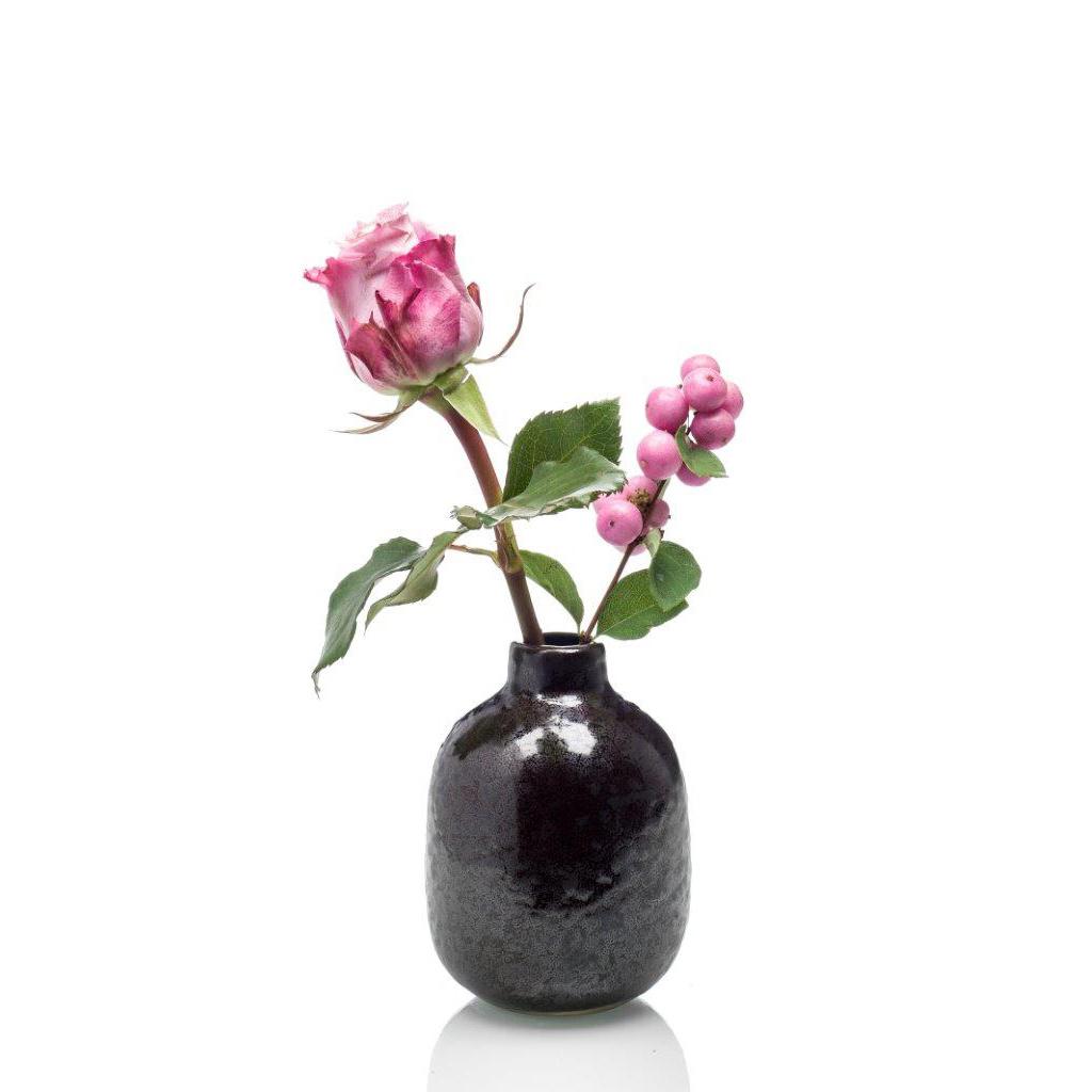 Luxe ceramic geurstokjes geur: Ceder en vetiver - zwart pot geurstokjes
