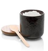 Luxe ceramic geurkaars geur: Ceder en vetiver - zwart pot geurkaars