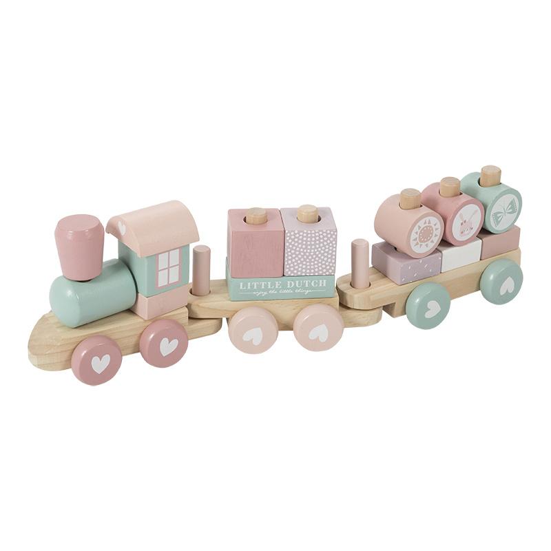 Little Dutch Little Dutch houten blokkentrein Roze