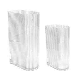 HKliving HK Living transparante ribbed vazen set of 2